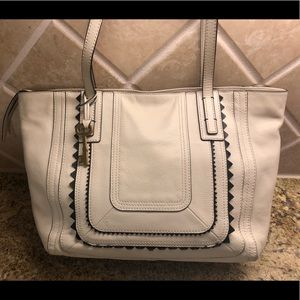 Fossil White Leather Handbag Tote 👜